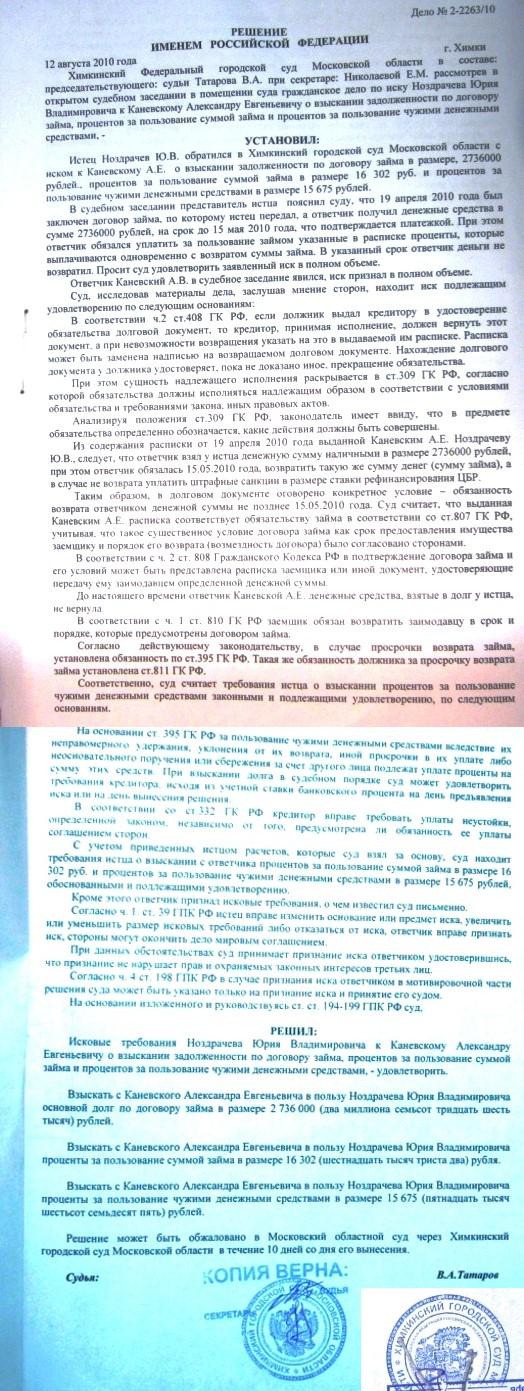 Пример судебного решение по взысканию долга с физического лица