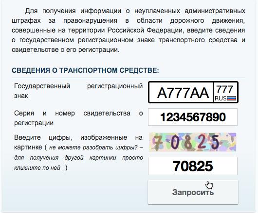 Заполняем форму на сайт ГИБДД РФ