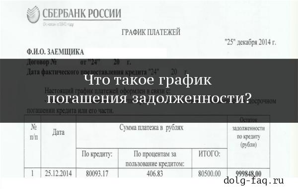График погашения задолженности (образец)