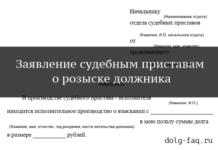 Заявление на розыск должника судебными приставами (образец)