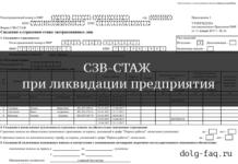 СЗВ-СТАЖ при ликвидации организации