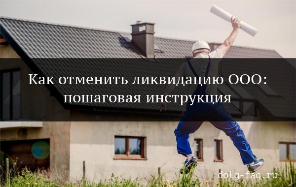Отмена ликвидации ООО: пошаговая инструкция