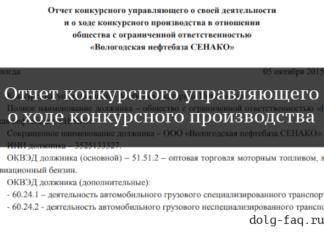 Отчет конкурсного управляющего о ходе конкурсного производства